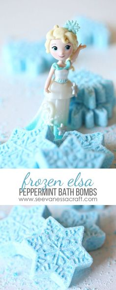 Disney Frozen inspired peppermint snowflake bath bombs recipe and tutorial! So easy to make and would make for cute Disney Cruise fish extender gifts!