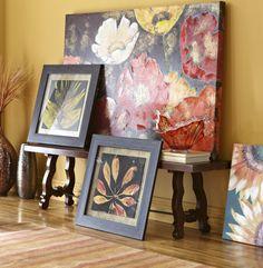 Put together floral and leaf art with similiar color schemes