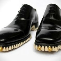 #Shoes, #Artists Mariana Fantich and Dominic Young created these shoes with 1,050 teeth lining the bottom of the sole.