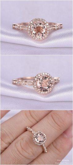 rose gold vintage floral engagement ring \/
