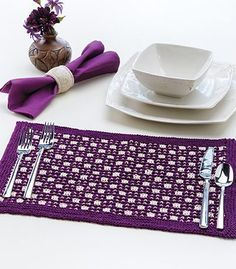 Free knitting pattern for Checkerboard Place Mat (for free registration at Annie's) tba Knit And Crochet Now, Annie's Crochet, Crochet Crafts, Slip Stitch Knitting, Loom Knitting, Knitting Stitches, Crochet Placemat Patterns, Knitting Patterns Free, Free Knitting