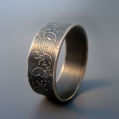 Etched Sterling Silver Band by Lisa Hopkins Design
