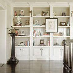 bookshelf idea for Living Room - but in dark stain wood