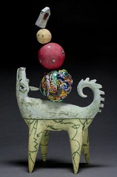 'Balancing Dog' Ceramic Sculpture by Lisa Muller Ceramic Artist★༺❤༻★