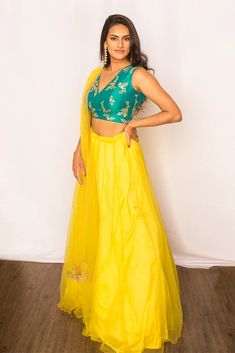 Callie Lengha – KYNAH - One-of-a-kind stunning raw silk blouse with gold embroidery. Paired with a yellow lengha and matching net dupatta. Garment Manufacturing, Gold Embroidery, Asian Fashion, Ethnic, Silk, Yellow, Blouse, Skirts, How To Wear