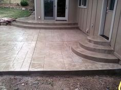 Stamped Concrete Patio Stamped concrete is known for its durability. It is also economical. When installed properly, it will last longer than other materials and can stand up to harsh weather conditions and high traffic. Contact Vee along the eastern slope of Colorado at 720-936-3422