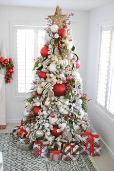 Mohawk Holiday Home Tour Silver Christmas Decorations, Flocked Christmas Trees, Christmas Tree Decorations, Christmas Themes, Christmas Holidays, Silver Christmas Tree, Colorful Christmas Tree, Merry Christmas, Christmas Tree Inspiration