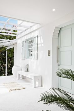 Santorini in Sydney 😉 Walls, porch, bench, pot and pergola painted in Casper White Qtr Door and window shutters painted in White Box Half House Inspo, Home, Renovations, House Exterior, Interior And Exterior, Front Door, Three Birds Renovations, House, House Goals