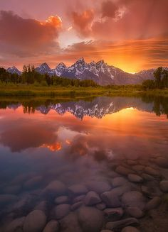 A very calm evening down at Schwabacher Landing in Grand Teton National Park. Wyoming