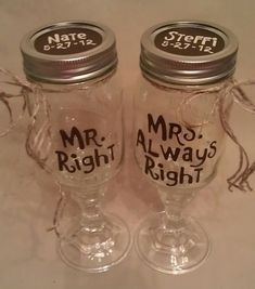 Mr. Right & Mrs. Always Right CUSTOM REDNECK WINE GLASS (Names & Wedding Date on Lid) by EastoverGraphics, $10.00/each