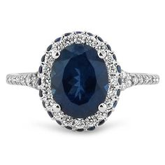Sapphire and Diamond Halo Ring, top view