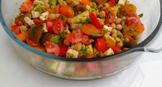 Chickpeas and Tomato Salad Vinegar Salt, Tomato Salad, Mustard Seed, Balsamic Vinegar, Chickpeas, Feta, Salsa, Avocado, Stuffed Peppers