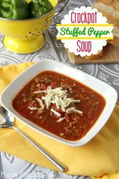 Crockpot Stuffed Pepper Soup - An instant family favorite! FamilyFreshMeals.com  Add red peppers to leave out the rice until right before serving.  Leave out the sugar. THM