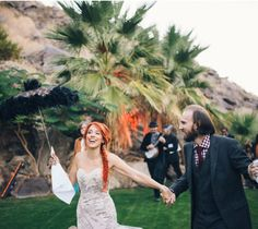 Palm springs wedding, bride and groom