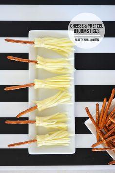 Pretzel & Cheese Witch Broomticks Healthy Halloween Snack