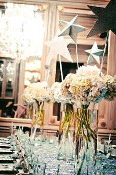 twinkle twinkle little star theme - large stars in flower arrangements