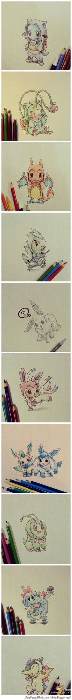Pokemen Drawing: Cuteness Overloaded! Colorpencils!
