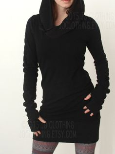 hooded tunic dress with thumb hole sleeves in BLACK by joclothing