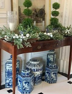 Blue and White Christmas Chinoiserie (Chinoiserie Chic) Decor, Blue Decor, White Decor, Chinoiserie, Blue Christmas, Blue White Decor, Enchanted Home, Blue And White, White Christmas Decor
