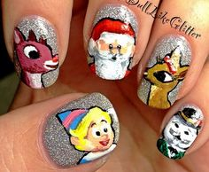 Rudolph Nails - (LOL, if I tried to do this, it would end up looking hilarious)