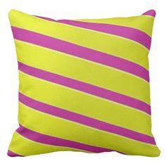 Fun Yellow and Pink Stripes Throw Pillow