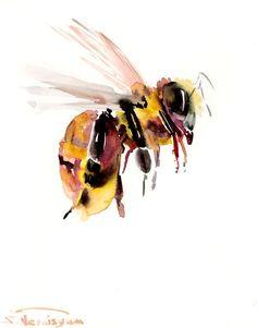 Flying Bee, original watercolor painting, 10 X 8 in, bee art, honey bee, bee lover art