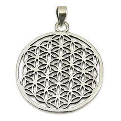 "Big Classic Flower of Life Pendant Sterling Silver 925 Size 1.5"" Sacred Geometry #MAGAYA #Pendant"