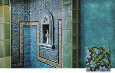 Motawi tile works blues and greens tile and niche