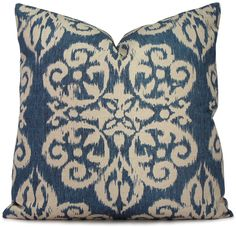 Denim Blue and Greige Ikat Decorative Pillow Cover - Medallion Pillow Cover - Throw Pillow - 18x18 20x20 22x22 and Lumbar. $48.00, via Etsy.