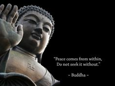 Lord Buddha Statue And Quote With Dark Background Like Peace Comesfrom Within Do Not Seek Without HD Widwscreen Wallpaper