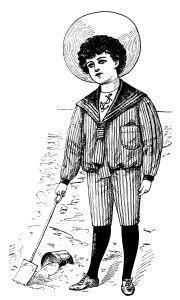Victorian Boy Summer Fashion 1900 ~ Free Vintage Clip Art