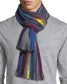 PAUL SMITH Raschel Neon-Striped Wool Scarf in Blue Multi