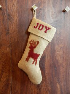 Rustic burlap Christmas stocking with deer silhouette. by RedeemedCustomDesign on Etsy
