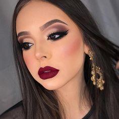 70 New ideas for glam wedding makeup tutorial Red Lips Makeup Look, Glam Makeup Look, Fall Makeup Looks, Makeup Tips, Beauty Makeup, Eye Makeup, Hair Makeup, Makeup Geek, Makeup Ideas