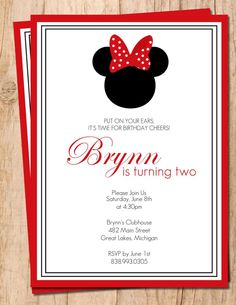 Minnie Mouse . Red and Black .  Printable Birthday Invitation .  Digital File on Etsy, $13.30 AUD
