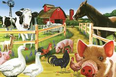 Farm Animals Craft For Kids Farm Animal Crafts For Farm Animals Pictures, Lovable Images, Farm Animal Crafts, Farm Party, Animal Paintings, Farm Paintings, Colorful Paintings, Animal Memes, Animals And Pets
