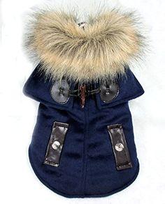 Pet Cat Dog Fur Collar Winter Coat Jacket Hooide Windproof Small Boy Dog Clothes Costume Blue S