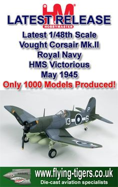 HA8205 Beautiful New 1/48th Scale Vought Corsair Mk.II 'Only FAA Corsair Air Ace of WWII' - Classic Fleet Air Arm Corsair - Last few models available now!