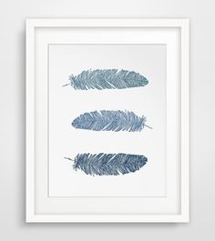 INSTANT DOWNLOAD: Printable navy blue feathers wall art === Print out this modern wall artwork from your home computer or local print