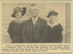 """PARENTS OF:   Bonnie Parker, John Dillinger, and Clyde Barrow.  All are attending a """"Crime Does Not Pay"""" attraction."""
