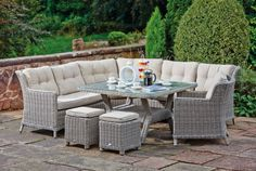 Perfect for all those sunny summer evening garden parties. Enjoy dinner outside with this gorgeous Cannes Modular Dining Set :) Bed Furniture, Garden Furniture, Outdoor Furniture Sets, Outdoor Decor, Garden Dining Set, Garden Table, Curved Patio, Luxury Furniture Stores, Modern Courtyard