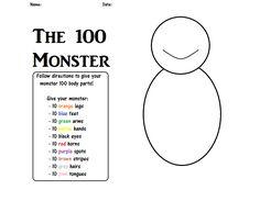 100th Day of School - 100 monster
