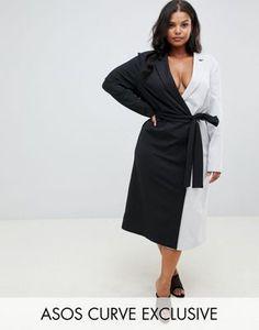 f343d34c94f ASOS DESIGN Curve exclusive soft tux wrap midi dress in color block Plus  Size Womens Clothing