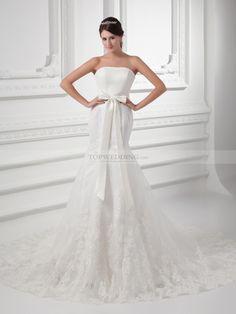 Averi - Trägerloses Satin Meerjungfrau Brautkleider mit Spitze Überzug und Bogen