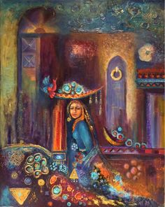 By the creative Iraqi artist, Layla Nowras. More gorgeous paintings can be found… Arte Judaica, Arabian Art, Arabian Women, Middle Eastern Art, Style Oriental, Painter Artist, Great Paintings, Oil Painting Abstract, Abstract Art