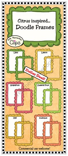 Dollar Deal! Citrus Inspired Doodle Frames from KB Konnected Clips on TeachersNotebook.com (12 pages)  - Dollar Deal! Citrus Inspired Doodle Frames - Commercial use welcome.