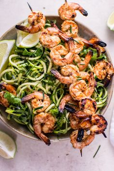 These grilled chili lime shrimp zoodles are an easy, summery, refreshing low-carb dish that's full of flavor!