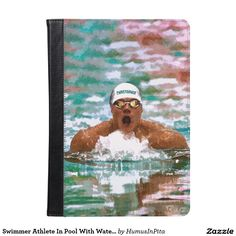 Swimmer Athlete In Pool With Water Drops Painting