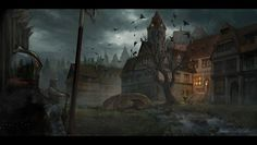 medieval city Fantasy landscape Concept art world Concept art