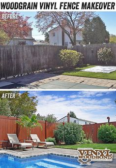 What a difference a fence makes! Need a way to spruce up your backyard? Need a great staycation idea? This is a Grand Illusions Vinyl WoodBond Rosewood Vinyl Privacy woodgrain fence shown replacing a standard weathered spruce stockade fence.